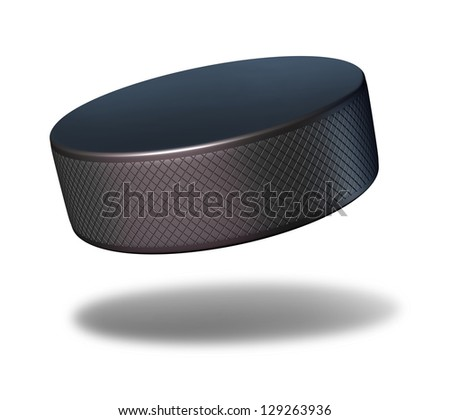 Hockey puck sport equipment flying in mid air on a white background as a winter sports symbol for professional or amateur game play in an ice rink. - stock photo