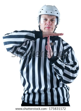 Hockey referee demonstrate timeout gesture. On the white background - stock photo