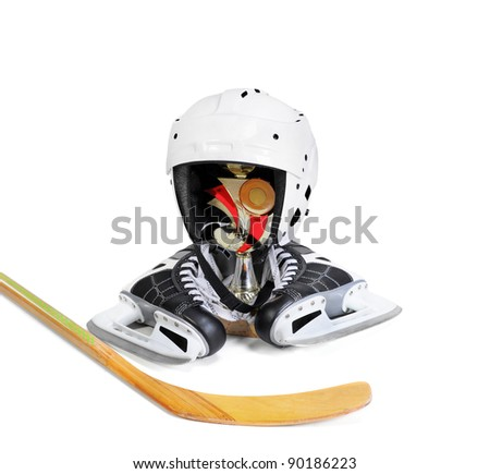 Hockey stick ice skating helmet cup winner. Isolated on white background - stock photo