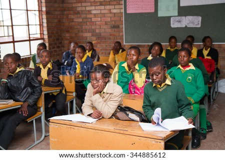 HOEDSPRUIT, SOUTH AFRICA - APRIL 17: school in a small township near the kruger park, the school has been built with international funds april 17, 2015 in Hoedspruit, South Africa - stock photo