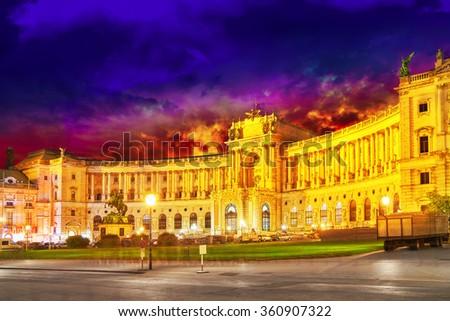 Hofburg Palace seen from Michaelerplatz, wide-angle view at dusk.Vienna.Austria. - stock photo