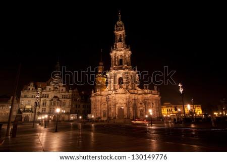 Hofkirche in Dresden at Night - stock photo