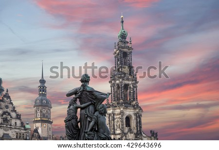 Hofkirche or Cathedral of Holy Trinity - baroque church in Dresden, Sachsen, Germany