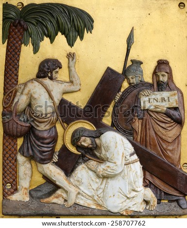 HOHENBERG, GERMANY - MAY 06: Jesus falls the first time, 3rd Stations of the Cross in Hohenberg, Germany on May 06, 2014. - stock photo