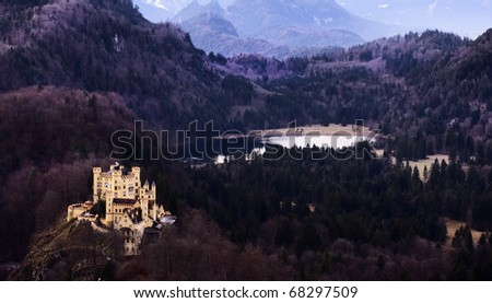 Hohenschwangau Castle in autumn, Bavaria, Germany. - stock photo