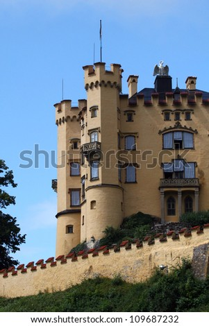 Hohenschwangau Castle in the Bavarian Alps of Germany - stock photo