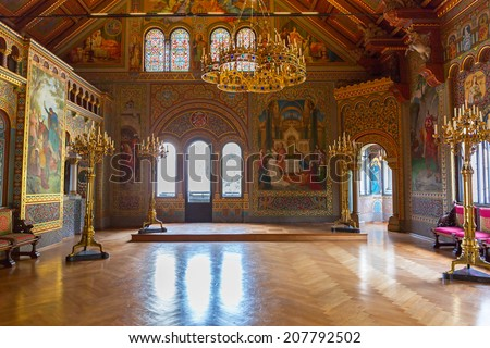 HOHENSCHWANGAU, GERMANY - 19 JUNE 2014:  Interior of the Neuschwanstein Castle in Hohenschwangau in Germany. Neuschwanstein castle is a nineteenth-century palace built for Ludwig II of Bavaria. - stock photo