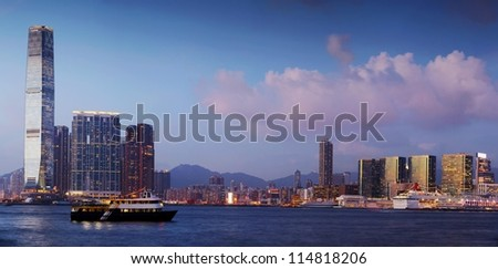 Hohg Kong city, view on the skyscrappers. Panoramic picture