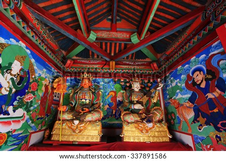 Hohhot City - May 2: Heavenly Kings statues and murals in Five-Pagoda Temple, on May 2, 2015, Hohhot city, Inner Mongolia autonomous region, China