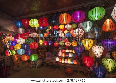 HOI AN - VIETNAM - Apr 13: Hoi An ancient town at night on Apr 13, 2015 in Hoian, Vietnam. Hoian is recognized as a World Heritage Site by UNESCO