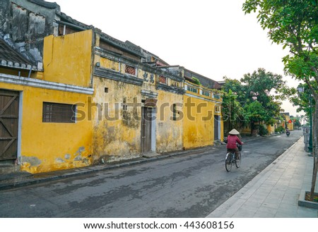 Hoi An, Vietnam - May 22, 2016: Hoi An Ancient Town in the morning. Hoi An is recognized as a UNESCO Heritage Site.