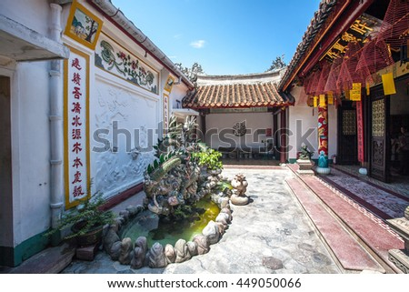 HOI AN, VIETNAM - OCTOBER 21: Phuc Kien Assembly Hall. It's the biggest assembly hall and displays rich architectural and artistic features and was listed a national historical vestige on Oct 21, 2014