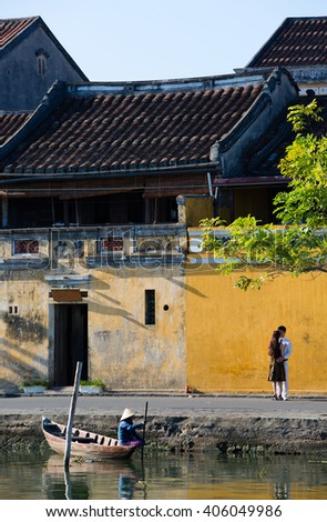 HOI AN, VIETNAM - SEPTEMBER 5, 2015: unidentified young Vietnamese couple are posing for a wedding picture in Hoi An,Vietnam  - stock photo