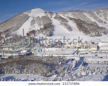 HOKKAIDO, JAPAN -DEC 14: Scene of Rusutsu Resort in winter on Dec 14, 2011 in Hokkaido, Japan. This is the largest resort in Hokkaido, mostly famous for its ski slopes, amusement park and others. - stock photo