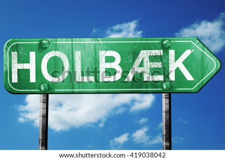 Holbaek, 3D rendering, a vintage green direction sign