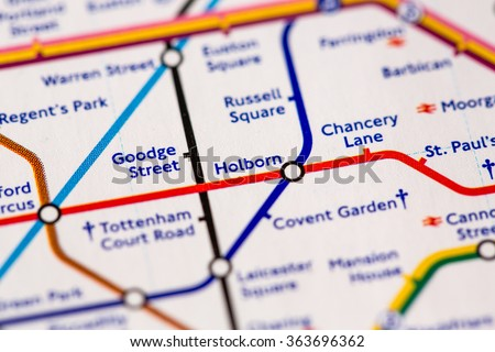 Holborn Station on a map of the Piccadilly metro line in London, UK. - stock photo