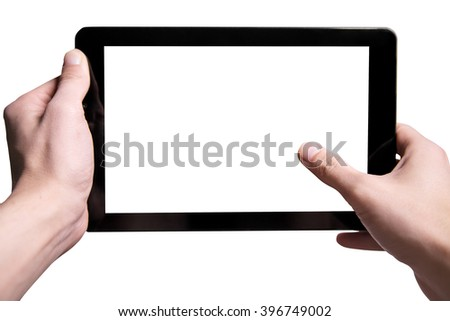 Hold black tablet on hands. Isolated on a white background