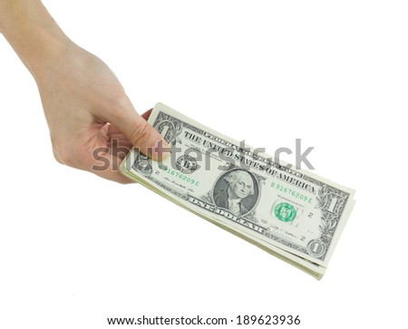 Hold dollars in hand isolated on white, pay actions, concepts and ideas