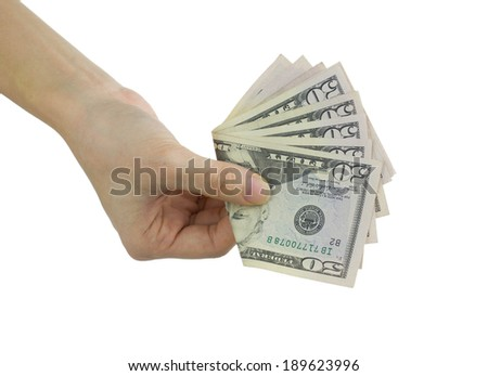 Hold dollars in hand isolated on white, pay actions, concepts and ideas - stock photo