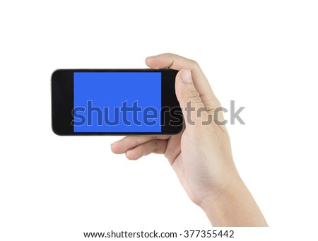 hold phone with blue screen on white background