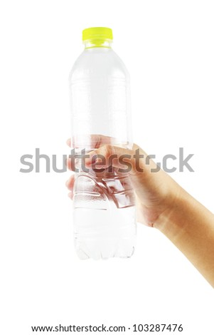 Hold water bottle green cap. - stock photo