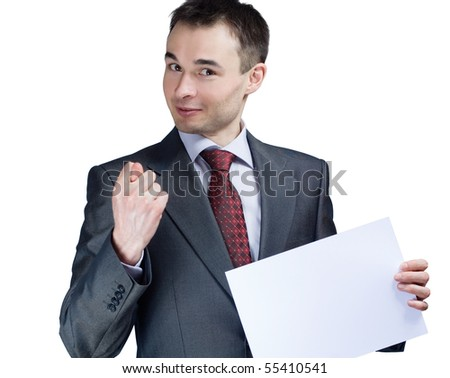 holding a blank paper businessman say no - stock photo