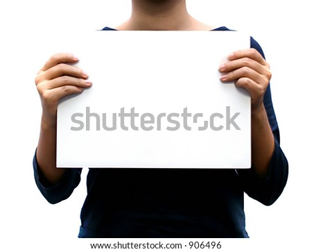 holding a blank sign - stock photo