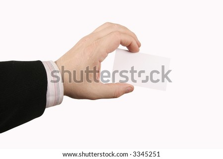 holding a businesscard - stock photo