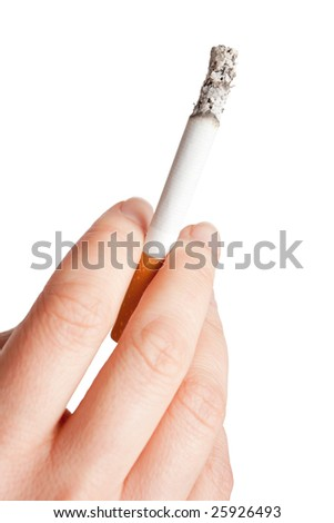 Holding a cigarette (isolated) - stock photo