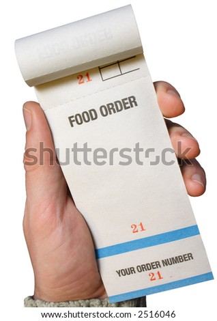 Holding a food order pad, ready for the order. - stock photo