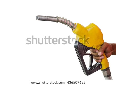 Holding a fuel nozzle against white background. - stock photo