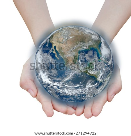 holding a glowing earth globe in hand.Elements of this image  are furnished by NASA  - stock photo