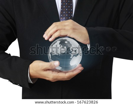 holding a glowing earth globe in his hands, Elements of this image furnished by NASA