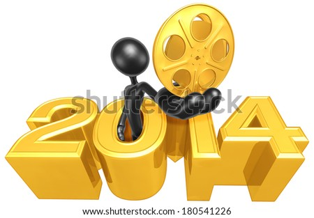 Holding A Gold Film Reel Coming Out Of The Year - stock photo