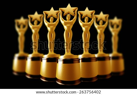 Holding A Gold Star Award - stock photo