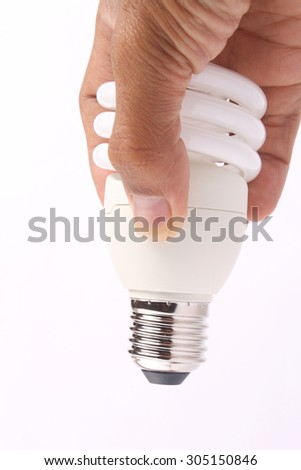 holding a light bulb with white background