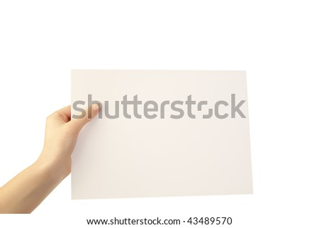 holding a paper in hand - stock photo