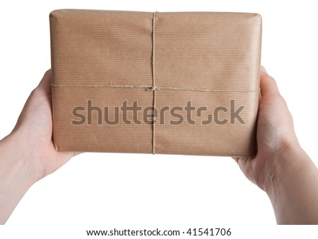Holding a Parcel (Isolated) - stock photo