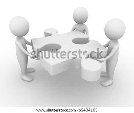 Holding a puzzle piece - stock photo
