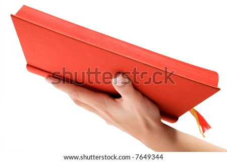 Holding a Red Bible - stock photo