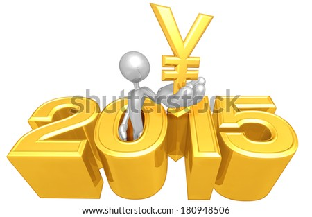 Holding A Yen Symbol Coming Out Of The Year - stock photo