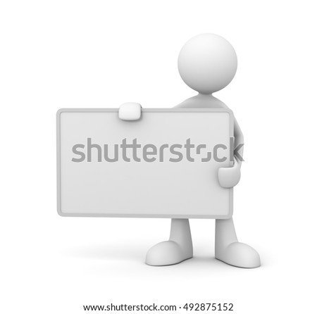holding blank placard concept   3d illustration