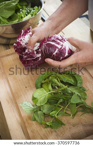 Holding cabbage