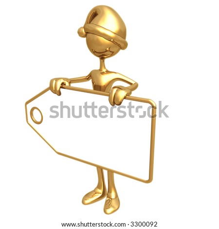 Holding Christmas Present Price Tag - stock photo