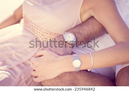 Holding couple - stock photo