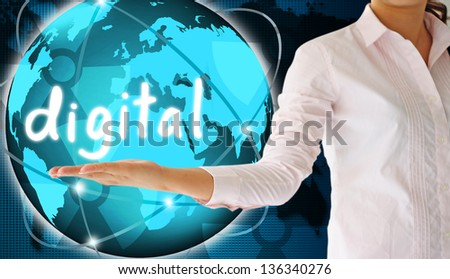 holding digital  in hand , creative concept - stock photo