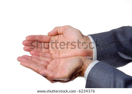 Holding, giving, receiving or showing hand sign isolated on white background - stock photo