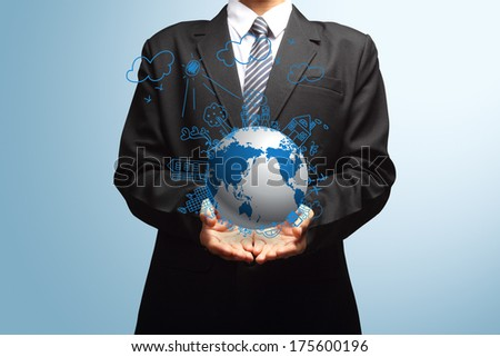 Holding globe, Ecology concept creative drawing on global environment with happy family stories concept idea - stock photo