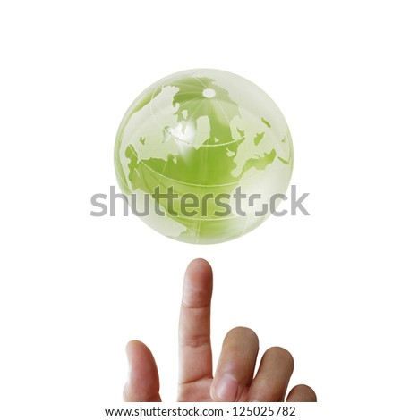 holding  glowing earth globe in his hands - stock photo