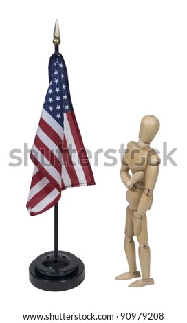 Holding hand over heart while pledging to the American flag - path included - stock photo
